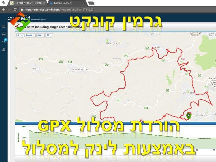 הורדת מסלול GPX מאתר גרמין קונקט